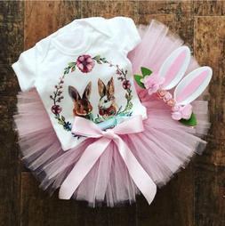 USA Newborn Baby Girls Easter Bunny Tops Romper Tutu Skirt D