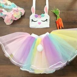 USA Toddler Kids Baby Girls Easter Rabbit Tops Vest Tulle Sk