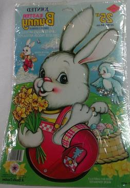 Vintage Beistle Easter Bunny Jointed Die Cut NIP Blue Bird 1