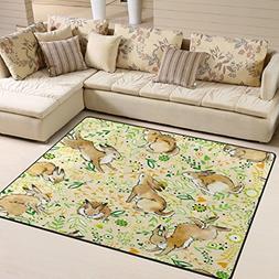 ALAZA Vintage Flower Rabbit Bunny Easter Area Rug Rugs for L