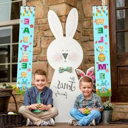 Welcome Happy Easter Bunny Eggs Garden Flag Double-sided Hou