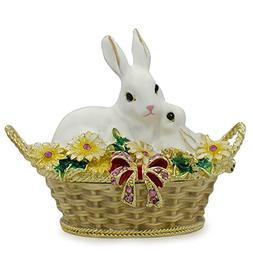 "2.5"" White Bunny Family in Easter Basket Trinket Box Figurin"