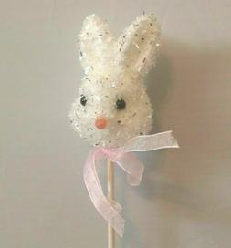 White Easter Bunny Rabbit Craft Floral Pick Pink Bow
