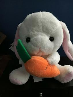 White Holland Lop Bunny Rabbit Plush holding carrot - Easter