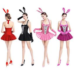 Women Easter Bunny Costume Sexy Rabbit Fancy Dress up +Ears