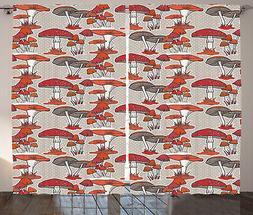 Woodland Mushroom Curtains 2 Panel Set Decoration 5 Sizes Wi