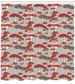 Woodland Mushroom Pattern Shower Curtain Fabric Decor Set wi