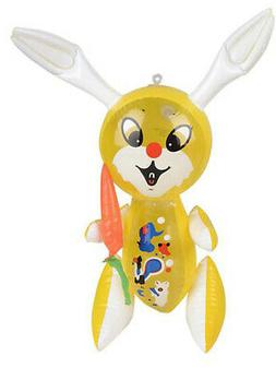 """Large 17"""" Yellow Inflatable Easter Bunny Rabbit With Carrot"""