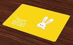 Ambesonne Yellow Place Mats Set of 4, Easter Bunny Rabbit An